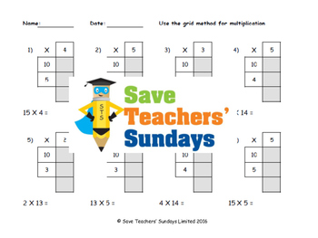 Grid Method Multiplication Lesson Plans Worksheets And More  Tpt