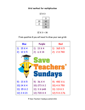 Grid method multiplication worksheets (3 levels of difficulty)