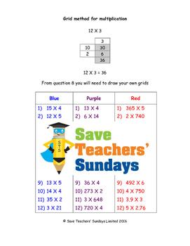 grid method multiplication worksheets  levels of difficulty  tpt grid method multiplication worksheets  levels of difficulty