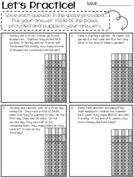 Gridded Response Practice with Decimal Operations--No Prep