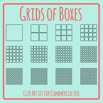 Grids of Boxes Blank Templates Clip Art Set for Commercial Use