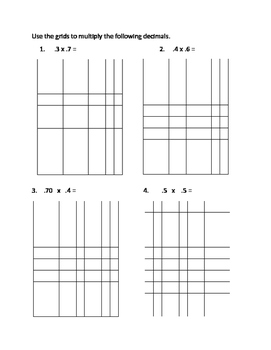 Grids to Multiply Decimals