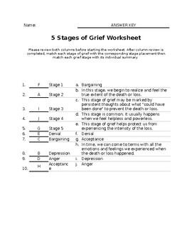 Grief Worksheet Answer Key