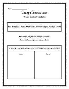 grief and loss change creates loss worksheet tpt. Black Bedroom Furniture Sets. Home Design Ideas