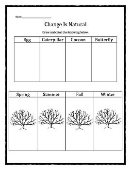 Grief and Loss: Change Is Natural worksheet