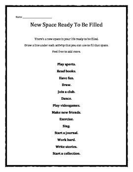Grief and Loss: New Space Ready To Be Filled worksheet