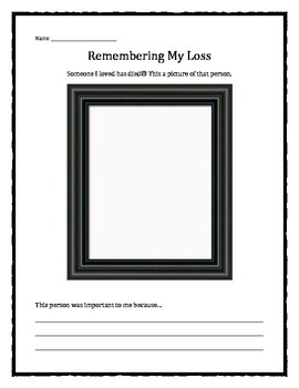 Grief and Loss: Remembering My Loss worksheet