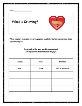 Grief and Loss: What is Grieving? worksheet