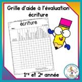 Grille d'aide à l'évaluation - écriture
