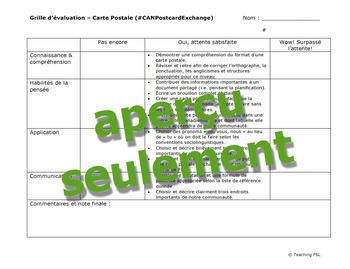 Grille d'évaluation BILINGUE: carte postale - French & English Rubric (postcard)