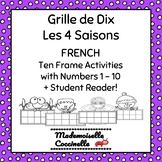 Numbers 1-10 French Ten Frame Activities / Grille de Dix Les 4 Saisons