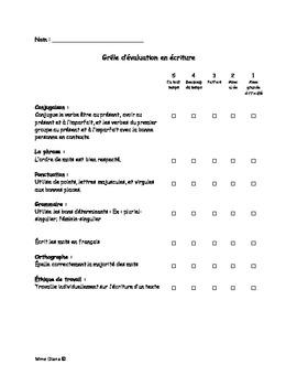 Grille d'évaluation en écriture-Writing evaluation (French)