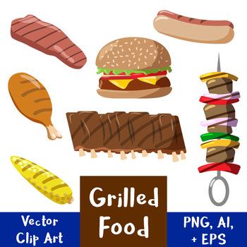 Grilled Food Vector Clipart   Hamburger, Hot Dog   Summer   PNG, AI, EPS