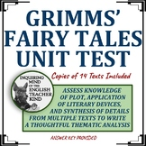 Grimms' Fairy Tales Unit Test & Key with 14 Short Stories Included