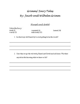 Grimms' Fairy Tales by Jacob and Wilhelm Grimm Guided Reading Packet/Book Study
