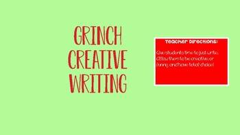 Grinch CREATIVE WRITING holiday activities for middle/ high school students