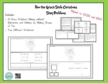 Grinch Day Math CCSS Story Problems and Workmats