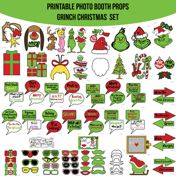 graphic regarding Grinch Printable known as Grinch Encouraged Xmas Printable Photograph Booth Prop Established