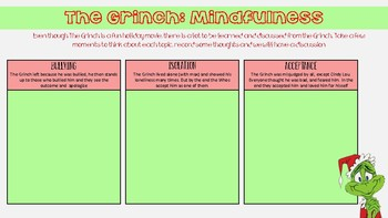 Grinch MINDFUL holiday activity for middle/high school