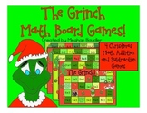 Grinch Math Board Games- Christmas Math Addition and Subtraction Activities!