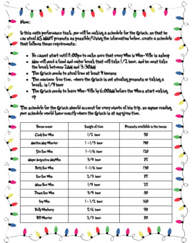Grinch Math Performance Task - The Grinch's Schedule for Stealing Presents