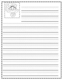 Grinch themed writing paper for primary
