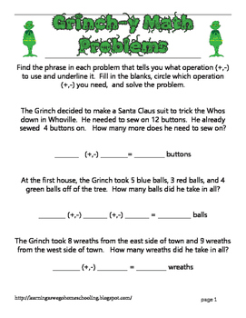 Grinch-y Math Problems - Addition and Subtraction Word Problems