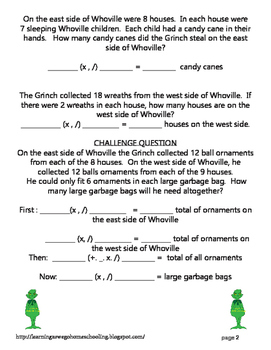 Grinch-y Math Problems - Multiplication and Division Word Problems