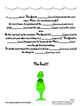Grinch-y Storytime - Parts of Speech