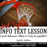 Nonfiction Close Reading Lesson on Hot Topics: Acceptable Coach Behavior
