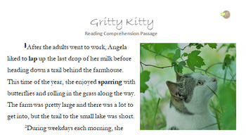 Gritty Kitty - Reading Passage and Comprehension Activity (With Answers)