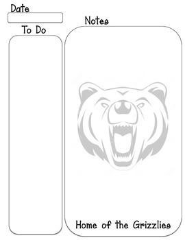Grizzlies mascot To do, Note taking sheet