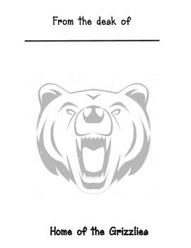 Grizzlies mascot memo sheet