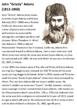 Grizzly Adams Handout