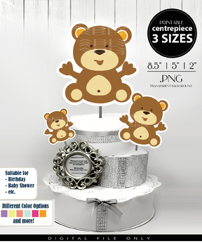 Grizzly Bear Baby Boy Centerpiece, Cake Topper, Clip Art Decoration in Brown