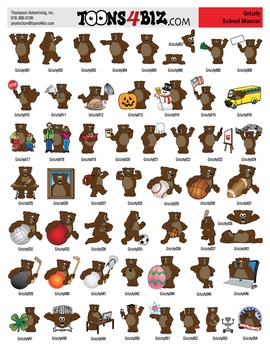 Grizzly Bear Clipart Set