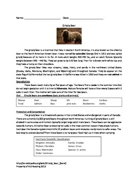 Grizzly Bear - review article facts questions vocabulary a