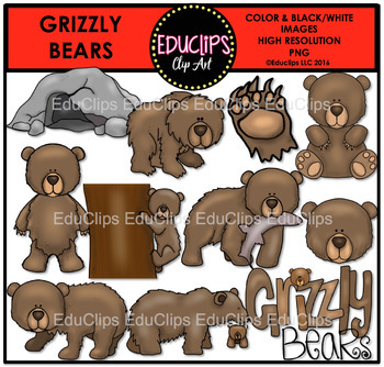Grizzly Bears Clip Art Bundle {Educlips Clipart}