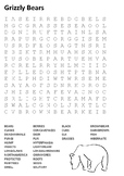 Grizzly Bears Word Search