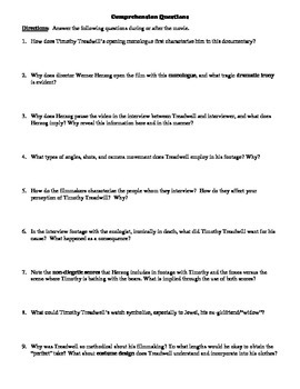 Grizzly Man Film (2005) Study Guide Movie Packet