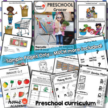 Preschool Grocer Community Helper - Weekly Unit for Preschool, PreK or Homescho