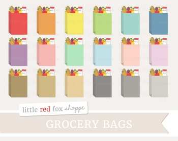 Grocery Bag Clipart; Groceries, Paper Bag, Sack, Produce