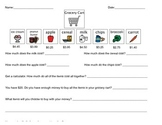 Grocery Cart Functional Math Worksheet