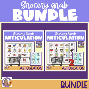 Articulation Bundle! Grocery Grab Shopping Games for speech and language therapy