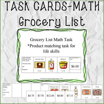 TASK CARDS MATH Grocery Lists By Adaptive Tasks TpT