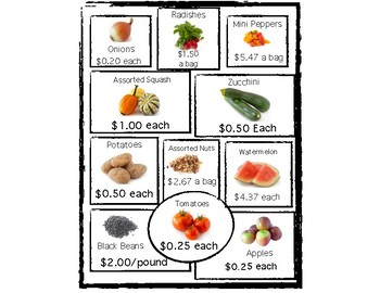 Grocery Math - Budgeting a List - Color Match