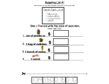 Grocery Math - Budgeting a List - Tracing