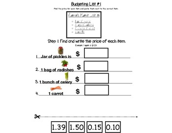 Grocery Math - Budgeting a list - Cut and Paste