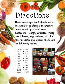 Grocery Math Scavenger Hunt- money skills practice