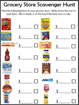 Math Worksheets supermarket math worksheets : Grocery Scavenger Hunt by Empowered By THEM | Teachers Pay Teachers